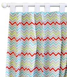Aqua Chevron Curtain Panels  |  Jellybean Parade Crib Collection