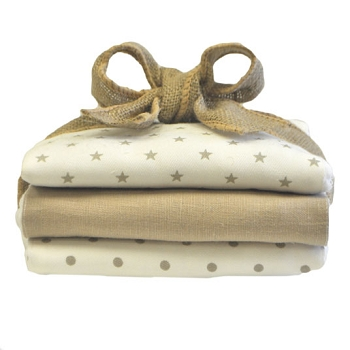 Khaki Stars Burp Cloth Set | Washed Linen in Flax Crib Collection