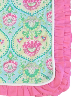 Aqua & Pink Floral Duvet Cover with Pink Ruffle | Full/Queen Size | Layla Rose Crib Collection