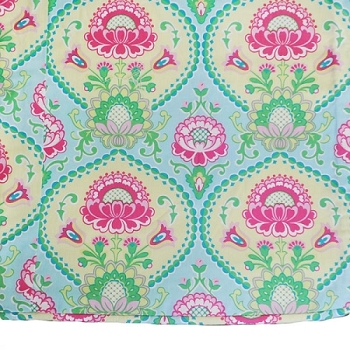 Aqua & Pink Floral Custom Twin Size Coverlet with Cording  |  Layla Rose Crib Collection