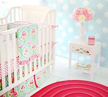 Aqua & Pink Floral Girl Baby Bedding | Layla Rose Collection