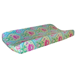 Aqua & Pink Floral Changing Pad Cover  |  Layla Rose Crib Collection
