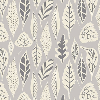 Gray Leaf Fabric | Art Gallery Leaflet Dawn Fabric