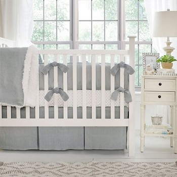 Linen Crib Bedding | Washed Linen in Gray Baby Bedding Collection