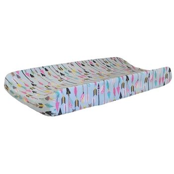 Aqua & Pink Arrow Changing Pad Cover  |  Little Explorer in Pink Crib Collection