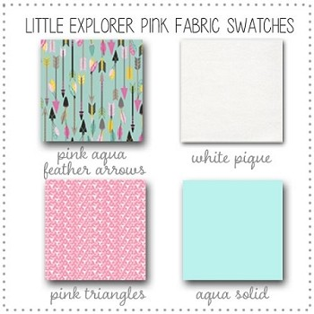 Little Explorer in Pink  Baby Bedding Collection Fabric Swatches Only