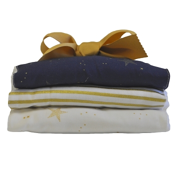 Navy and Gold Star Burp Cloth Set | Lucky Stars Crib Collection