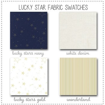Lucky Stars in Navy Crib Bedding Collection Fabric Swatches Only