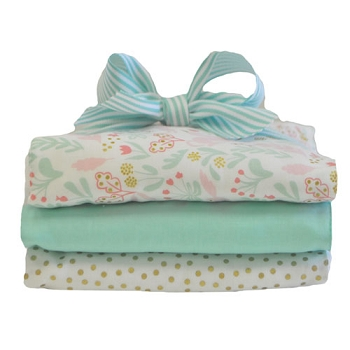 Aqua Floral Burp Cloth Set | Magic Folk Collection