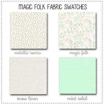 Magic Folk Crib Bedding Collection Fabric Swatches Only