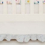 Blue and White Ruffled Crib Skirt | Wildflower Collection