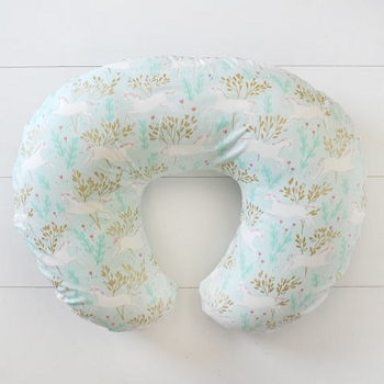 Gold and Mint Nursing Pillow Slipcover | Unicorn in Mint Collection