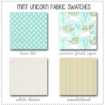 Mint Unicorn Crib Bedding Collection Fabric Swatches Only