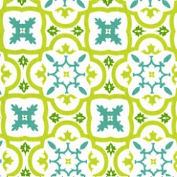 Michael Miller Moorish Tile White  |Mint Medallion Fabric
