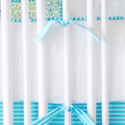 Aqua and White Crib Bumper | Monterey Bay Crib Collection