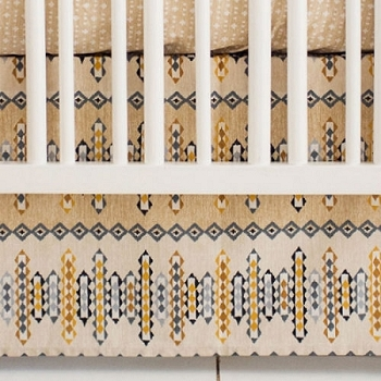 Aztec Crib Skirt | Navajo in Gold Crib Collection