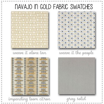 Navajo in Gold Crib Collection Fabric Swatches Only