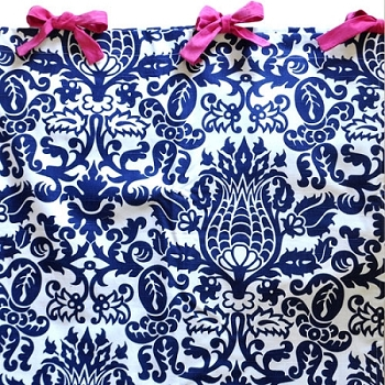 Navy Damask Curtain Panels with Pink Ties