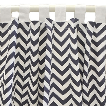 Twill Navy Chevron Curtain Panels