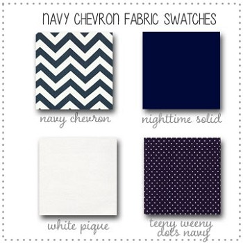 Navy Chevron Bedding Collection Fabric Swatches Only