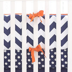 Navy and Orange Chevron Crib Bumper