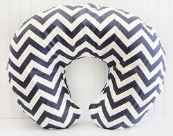 Navy Chevron Nursing Pillow Cover
