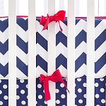 Navy and Red Chevron Crib Bedding