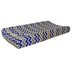 Gold & Navy Chevron Changing Pad Cover  |  Golden Days in Navy Crib Collection