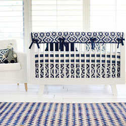 Navy Tribal Crib Rail Guard  |  Arizona in Navy Crib Collection