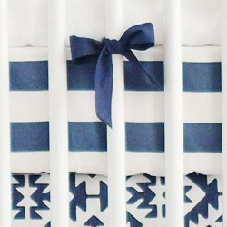 Navy Stripe Crib Sheet | Arizona in Navy Collection