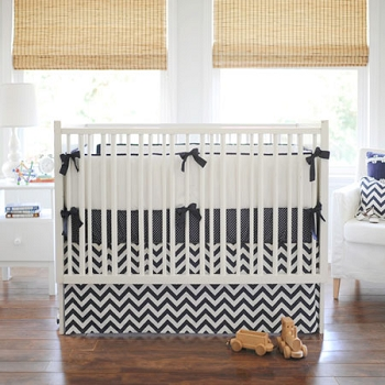 Navy Chevron Baby Bedding