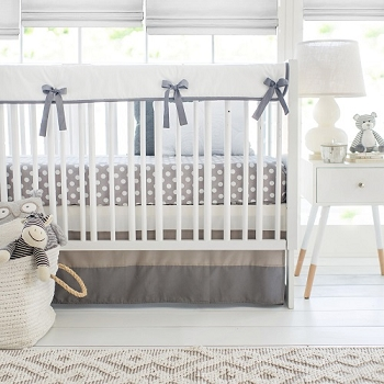 Gray and White Crib Rail Cover Set | Gray Ombre Crib Collection