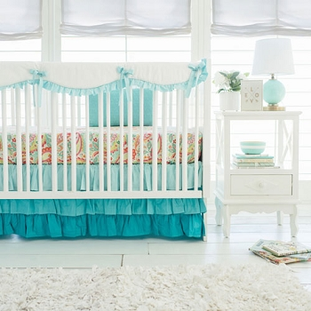 Aqua Crib Rail Guard Set  | Aqua Ombre Crib Bumperless Crib Collection