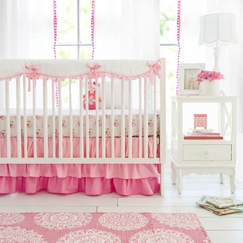 Pink Crib Rail Cover Set | Pink Ombre Bumperless Crib Collection