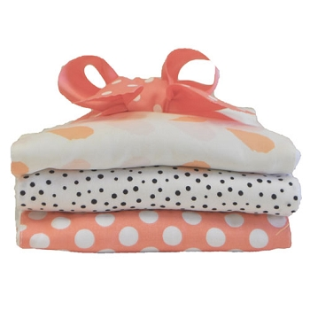Peach and Polka Dot Burp Cloth Set | Once Upon A Time Crib Collection