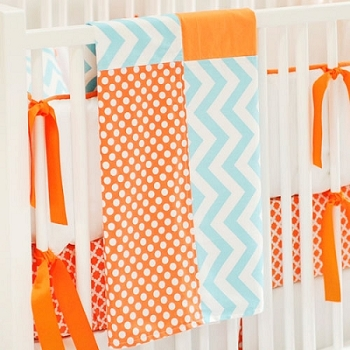 Patchwork Chevron Baby Blanket | Orange Crush Crib Collection