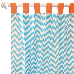 Orange and Aqua Chevron Curtains  |  Orange Crush Crib Collection