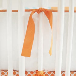 Orange & White Crib Bumper | Orange Crush Crib Collection