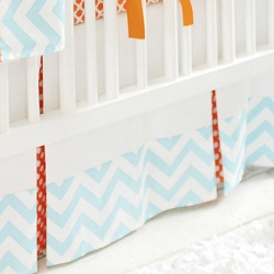 White Crib Skirt | Orange Crush Crib Collection