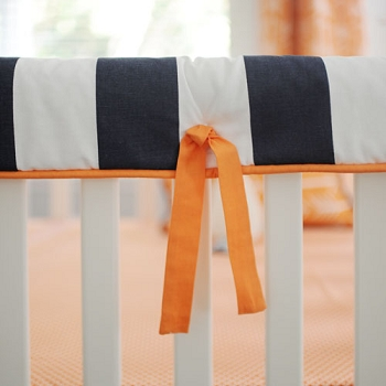 Orange & Navy Stripe Crib Rail Guard Only |  Out and About Crib Collection
