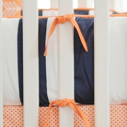 Navy & Orange Crib Bumper | Out & About Crib Collection