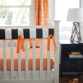 Orange & Navy Arrow Crib Rail Guard |  Out and About Crib Collection