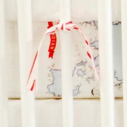 Red & Navy Map Crib Sheet  |  Around the World Crib Collection