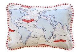 Red & Navy Nautical Throw Pillow  |  Around the World Crib Collection