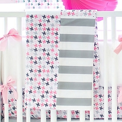 Pink & Gray Houndstooth Crib Blanket  |  Paper Moon Crib Collection