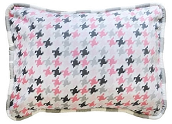 Pink & Gray Houndstooth Throw Pillow  |  Paper Moon Crib Collection