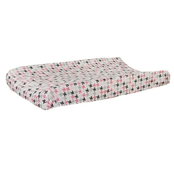 Pink & Gray Houndstooth Changing Pad Cover  |  Paper Moon Crib Collection
