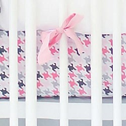 Pink & Gray Houndstooth Crib Sheet  |  Paper Moon Crib Collection