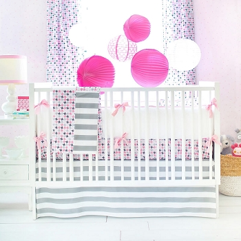 Pink & Gray Baby Bedding  | Paper Moon Crib Collection