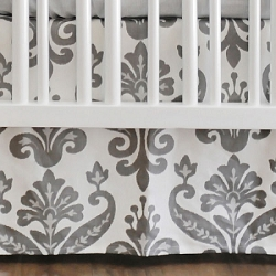 Gray Ikat Crib Skirt  |  Urban Ikat in Gray Crib Collection